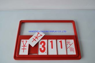 Red Supermarket Plastic Price Sign Board , Price Display Holders