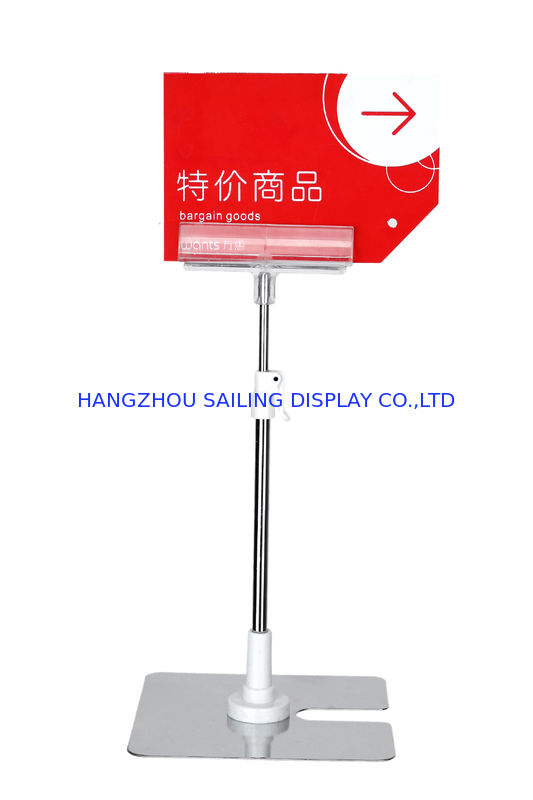 Metal POP Clip Table Top Sign Holders , Clear PVC Clip POS Sign Holder supplier